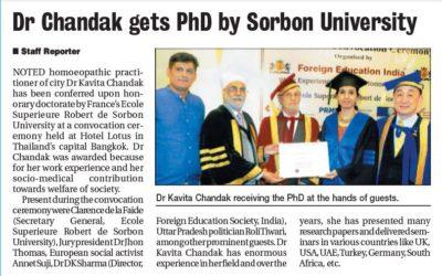 Dr Chandak gets PhD by Sorbon University